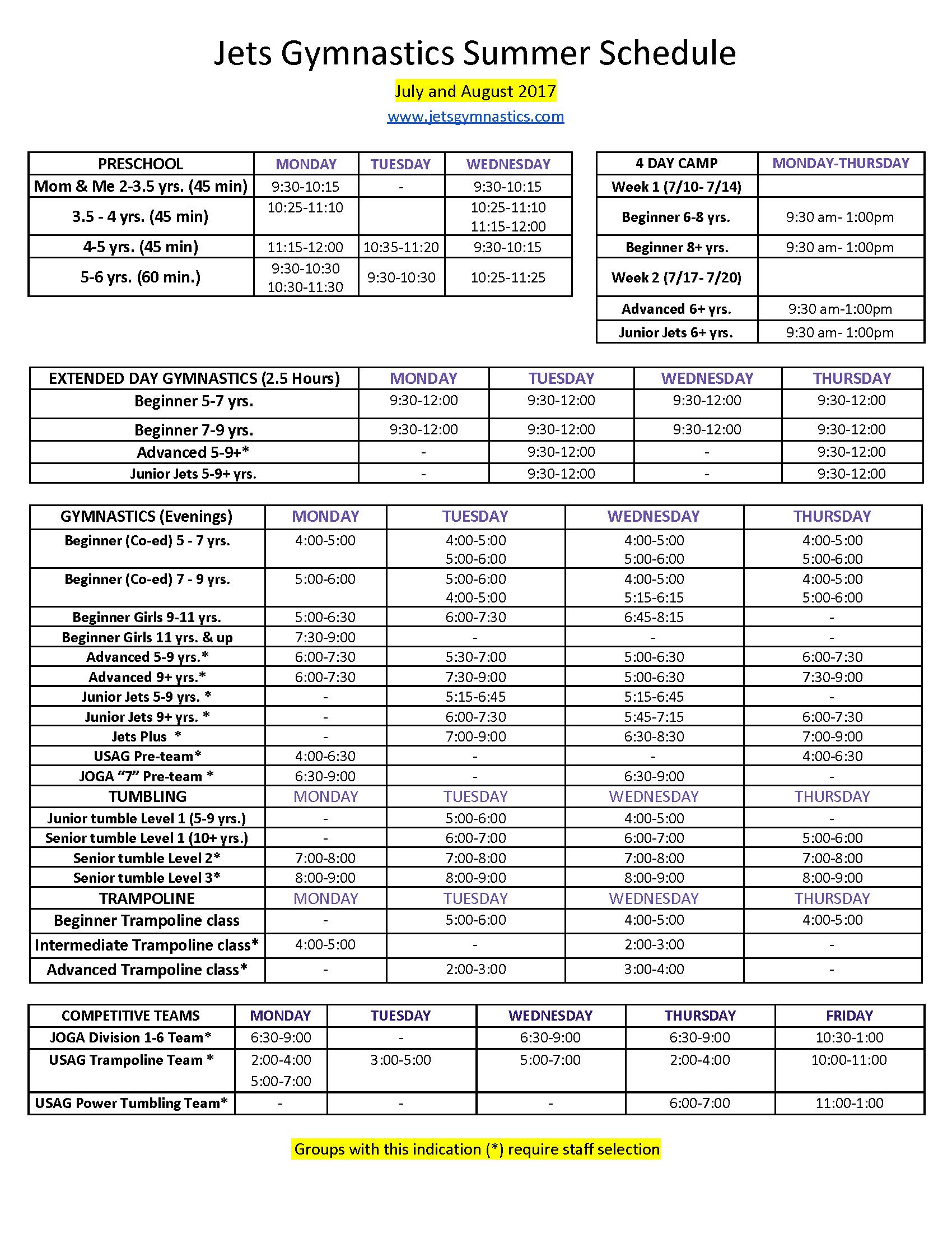 Jets Gymnastics 2017 Summer Schedule